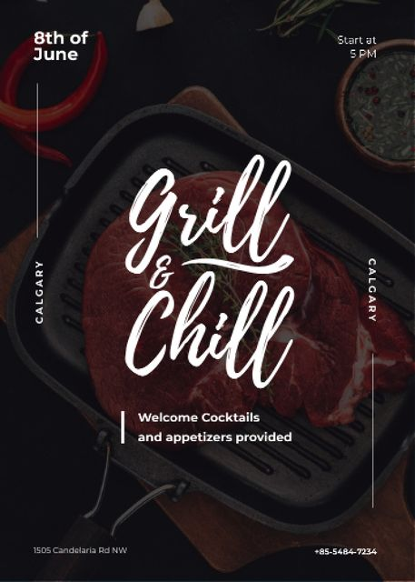 Plantilla de diseño de Raw meat steak on Grill Invitation