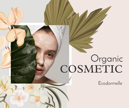 Organic Cosmetic Offer with Woman and leaves Facebook Modelo de Design