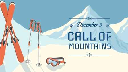 Ski resorts ad with Snowy Mountains FB event cover Design Template