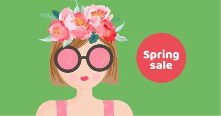 Modèle de visuel Spring Sale with Woman in Pink Sunglasses - Facebook AD