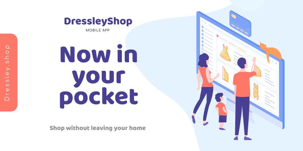Online Shop Ad with people choosing things on screen — Crear un diseño