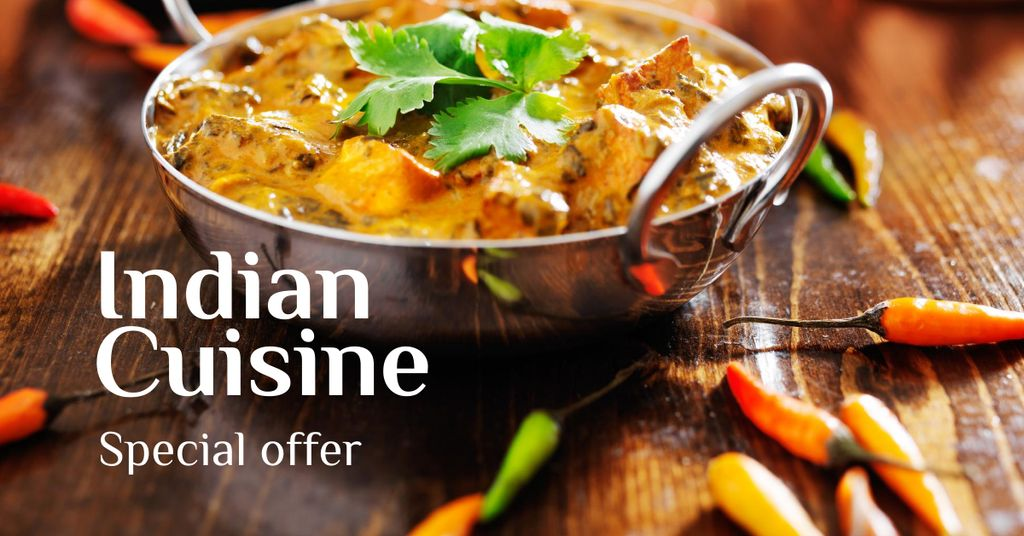 Indian Cuisine Dish Offer Facebook ADデザインテンプレート