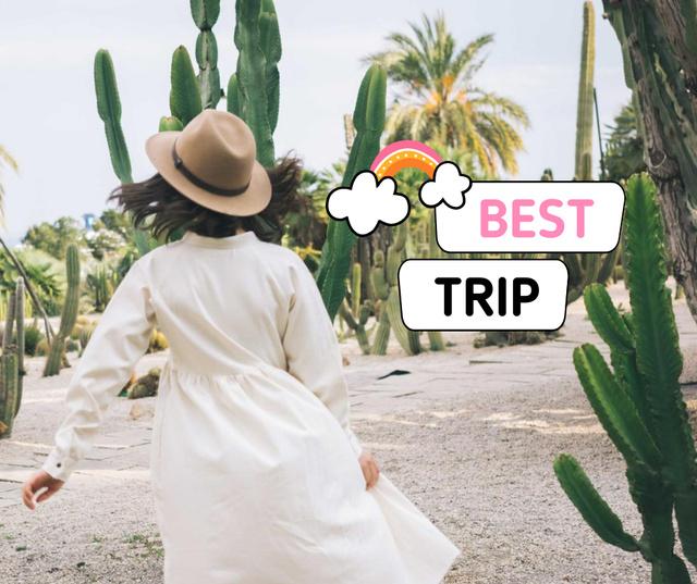 Modèle de visuel Travel Blog Promotion with Woman in Straw Hat - Facebook