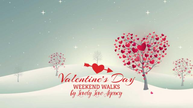 Valentine's Day Trees with red Hearts Full HD videoデザインテンプレート