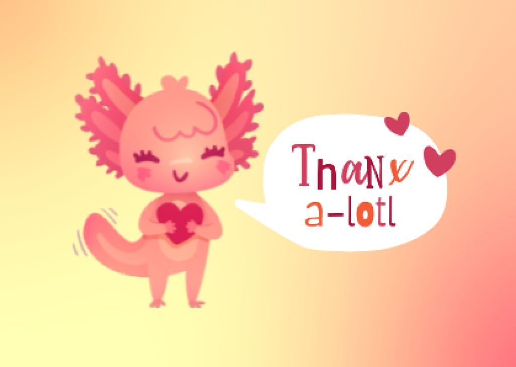 Thankful Phrase with Cute Character Card – шаблон для дизайна