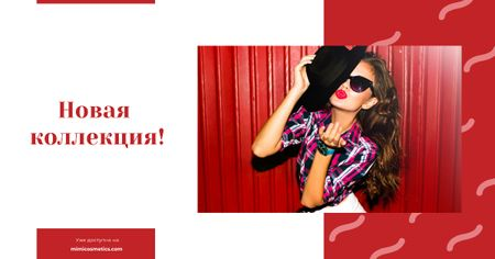 Beautiful Young Girl in Sunglasses in Red Facebook AD – шаблон для дизайна