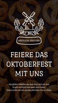 Oktoberfest Invitation with Pretzels and Mill