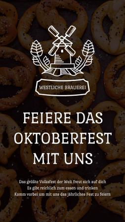 Plantilla de diseño de Oktoberfest Invitation with Pretzels and Mill Instagram Video Story