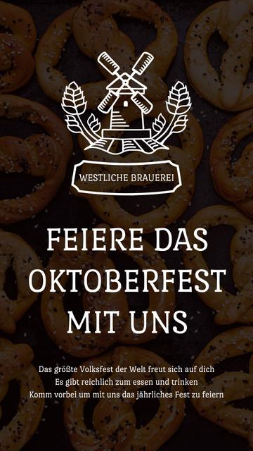 Ontwerpsjabloon van Instagram Video Story van Oktoberfest Invitation with Pretzels and Mill