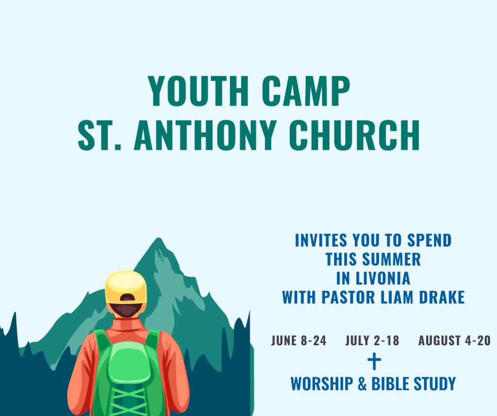 Youth Religion Camp invitation with boy in Mountains — Maak een ontwerp