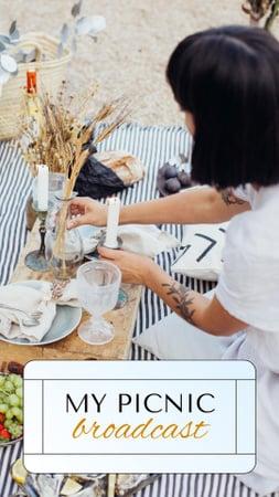Designvorlage Online Picnic Announcement with Woman sitting on Blanket für Instagram Story