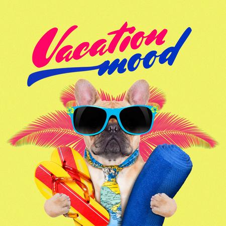 Designvorlage Funny Dog in Sunglasses on Vacation für Instagram