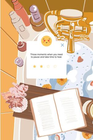 Mental Health Inspiration with Cozy relaxing Bath Pinterest Design Template