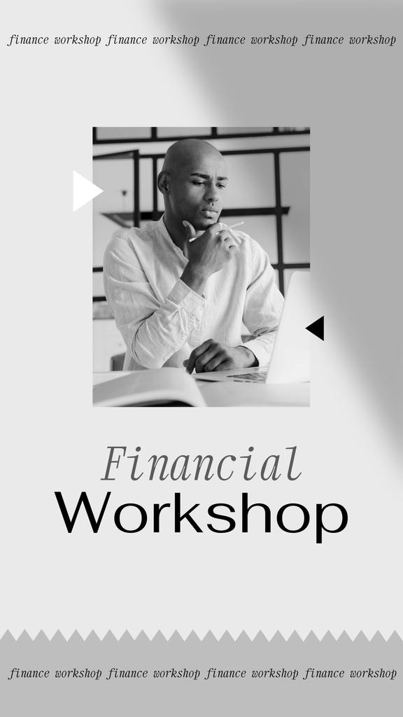 Plantilla de diseño de Financial Workshop promotion with Confident Man Instagram Story