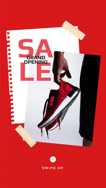 Shoes Sale Sportsman Holding Sneakers Instagram Story Modelo de Design