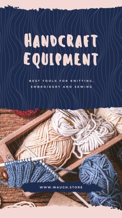 Handcraft equipment Store with Wool yarn skeins Instagram Story Design Template