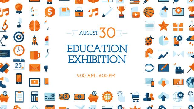 Education Exhibition Bright Sciences Icons FB event cover Design Template