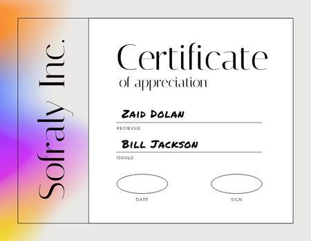 Template di design Achievement Award in Business Company Certificate