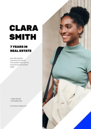 Real Estate Agent Smiling Woman Poster Design Template