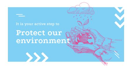 Template di design Environment Protection Hands Holding Earth Facebook AD