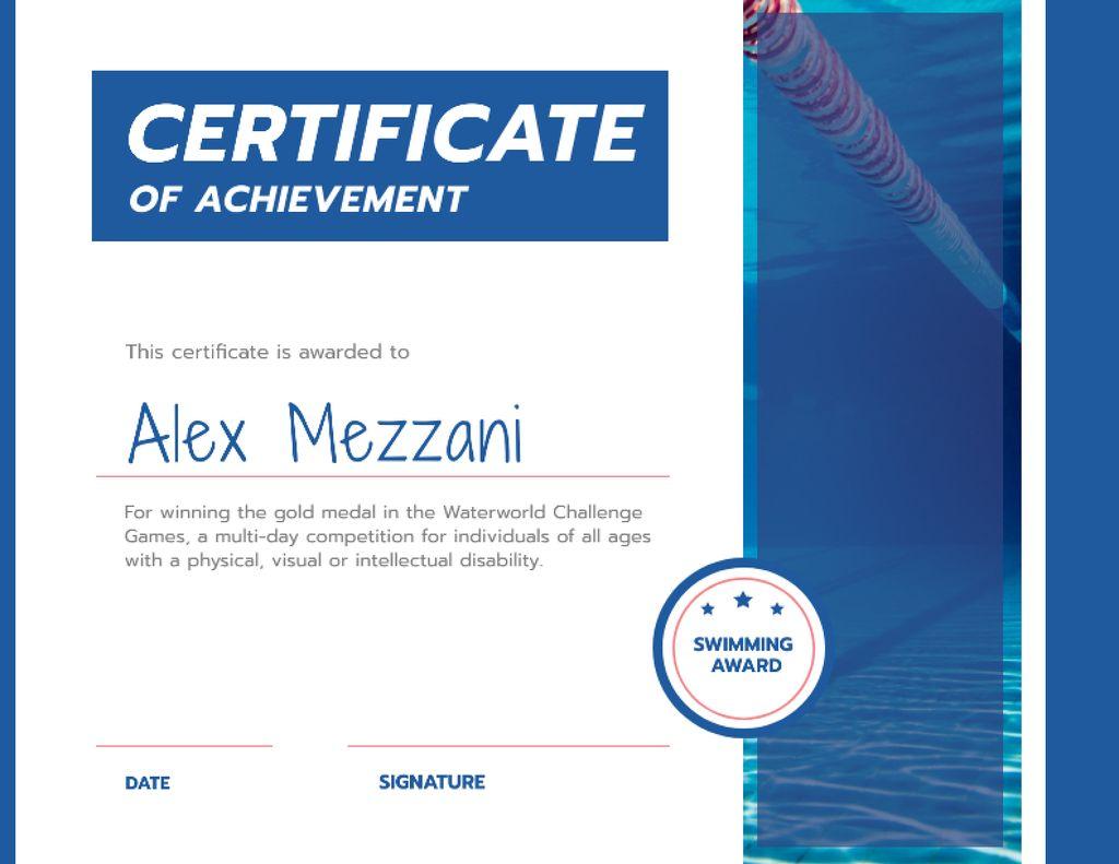Swimming Contest Achievement with blue pool — Crear un diseño