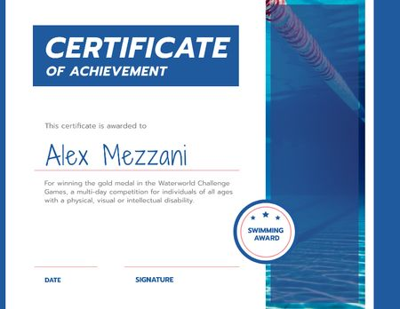 Swimming Contest Achievement with blue pool Certificateデザインテンプレート