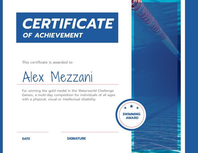 Template di design Swimming Contest Achievement with blue pool Certificate