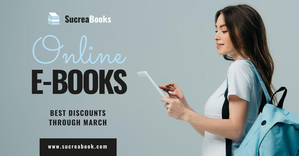 Online E-books Store Ad Girl Reading — ein Design erstellen