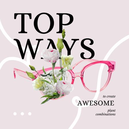 Ontwerpsjabloon van Instagram van Tender Flowers and Pink Glasses