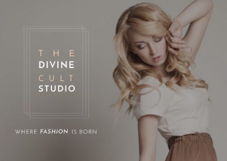 Ontwerpsjabloon van Card van Beauty Studio Ad with Attractive Blonde