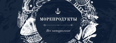 Seafood Offer with Fish Pattern Facebook cover – шаблон для дизайна