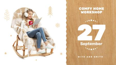 Wooden Furniture Workshop with Woman in Rocking Chair FB event coverデザインテンプレート