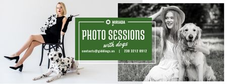 Template di design Photo Session Offer Girls with Dogs Facebook cover