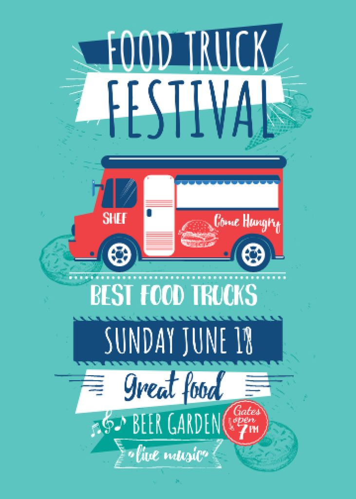 Food Truck festival announcement with Delivery Van – Stwórz projekt