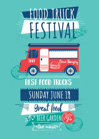 Ontwerpsjabloon van Flayer van Food Truck festival announcement with Delivery Van