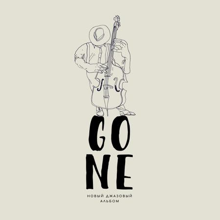 Musician playing Jazz on Double Bass Album Cover – шаблон для дизайна