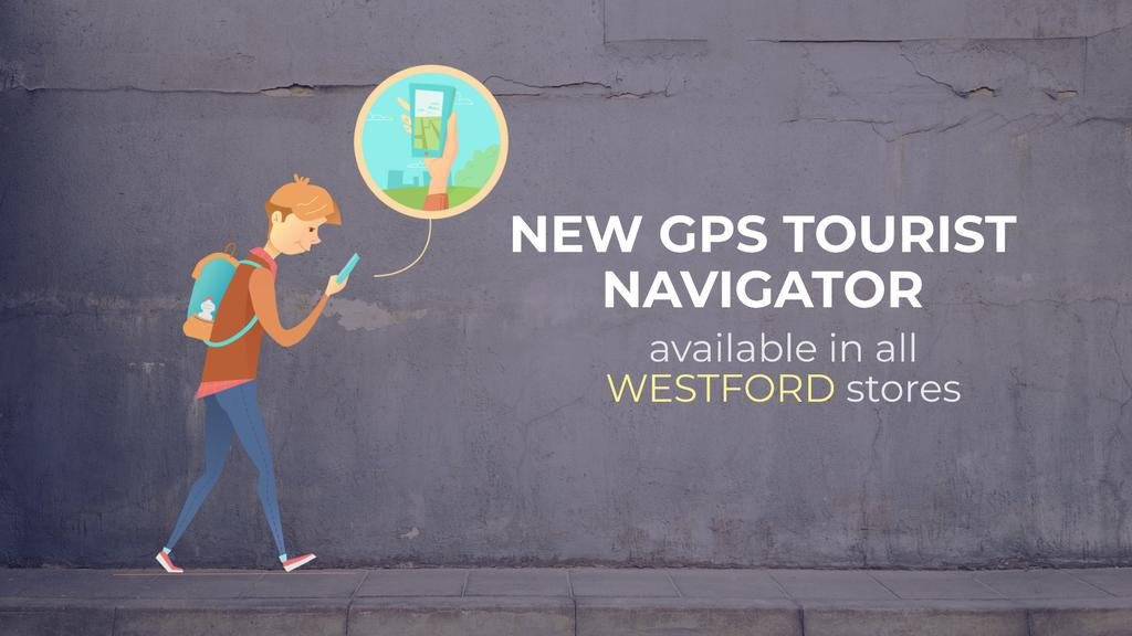 Navigation App Ad Man Using Map on Phone —デザインを作成する