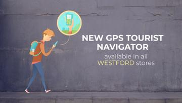 Navigation App Ad Man Using Map on Phone