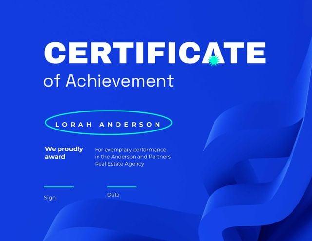 Ontwerpsjabloon van Certificate van Real Estate Agent Achievement Award