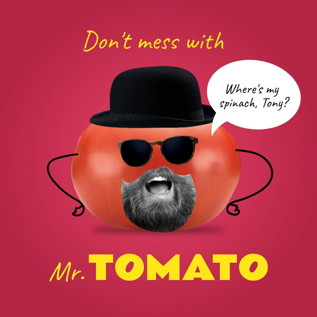 Plantilla de diseño de Funny Tomato Character with Human Mouth Instagram