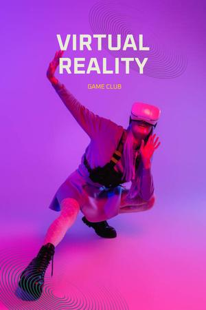 Template di design Virtual Reality Game Club Ad with Woman in Glasses Pinterest