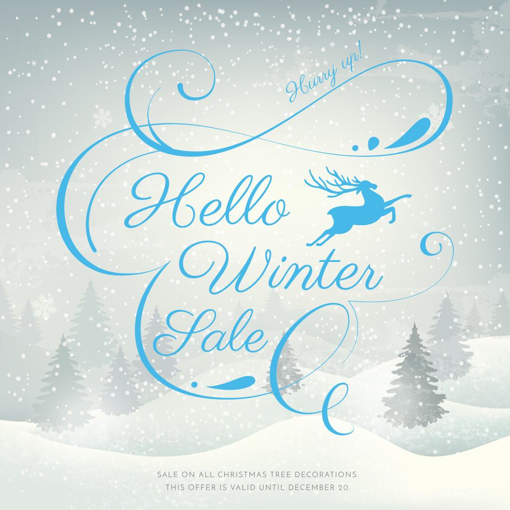 Winter Sale announcement with Snowy forest — Crear un diseño