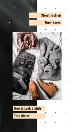 Fashion Ad with Casual Winter Outfit Instagram Video Story Design Template