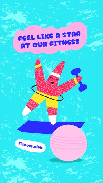 Fitness Club Offer with Funny Starfish in Sportswear Instagram Story – шаблон для дизайна