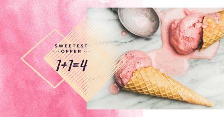 Modèle de visuel Melting ice cream in pink - Facebook AD