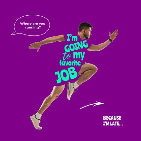 Funny Joke about Being Late for Work Instagram – шаблон для дизайну