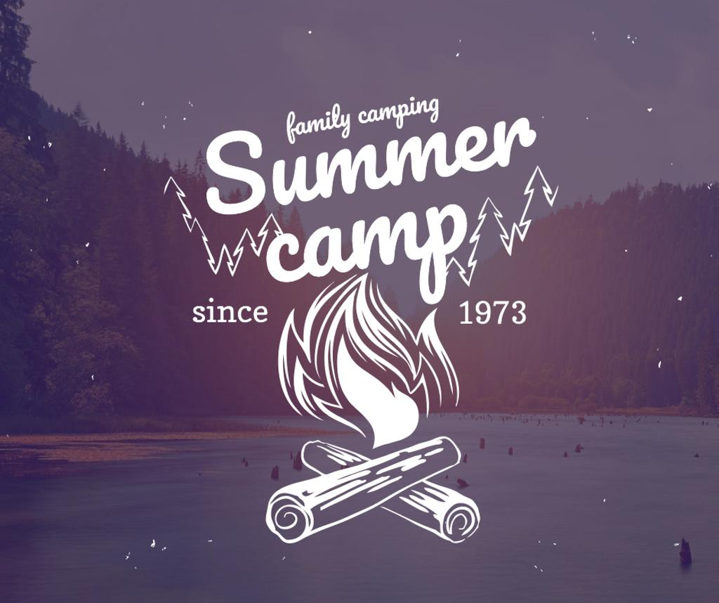 Summer camp invitation with forest view — Modelo de projeto