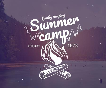 Summer camp invitation with forest view Facebook Modelo de Design