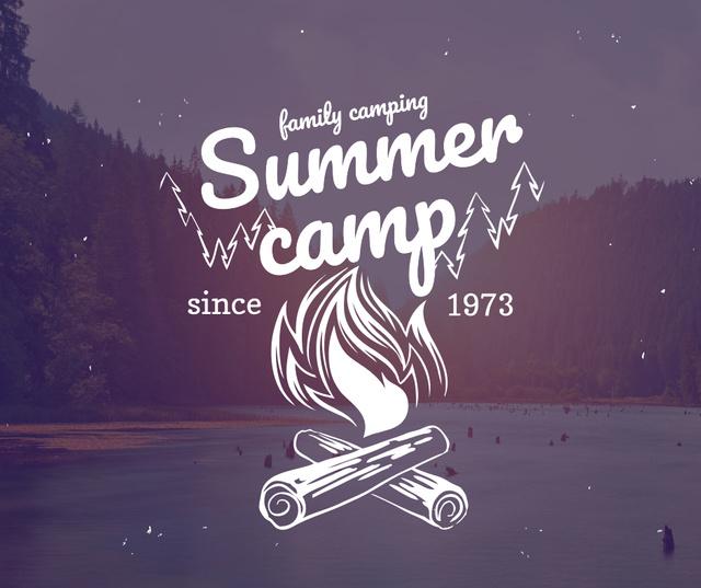 Ontwerpsjabloon van Facebook van Summer camp invitation with forest view