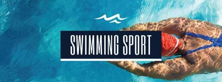 Swimming Sport Ad with Swimmer Facebook cover – шаблон для дизайну